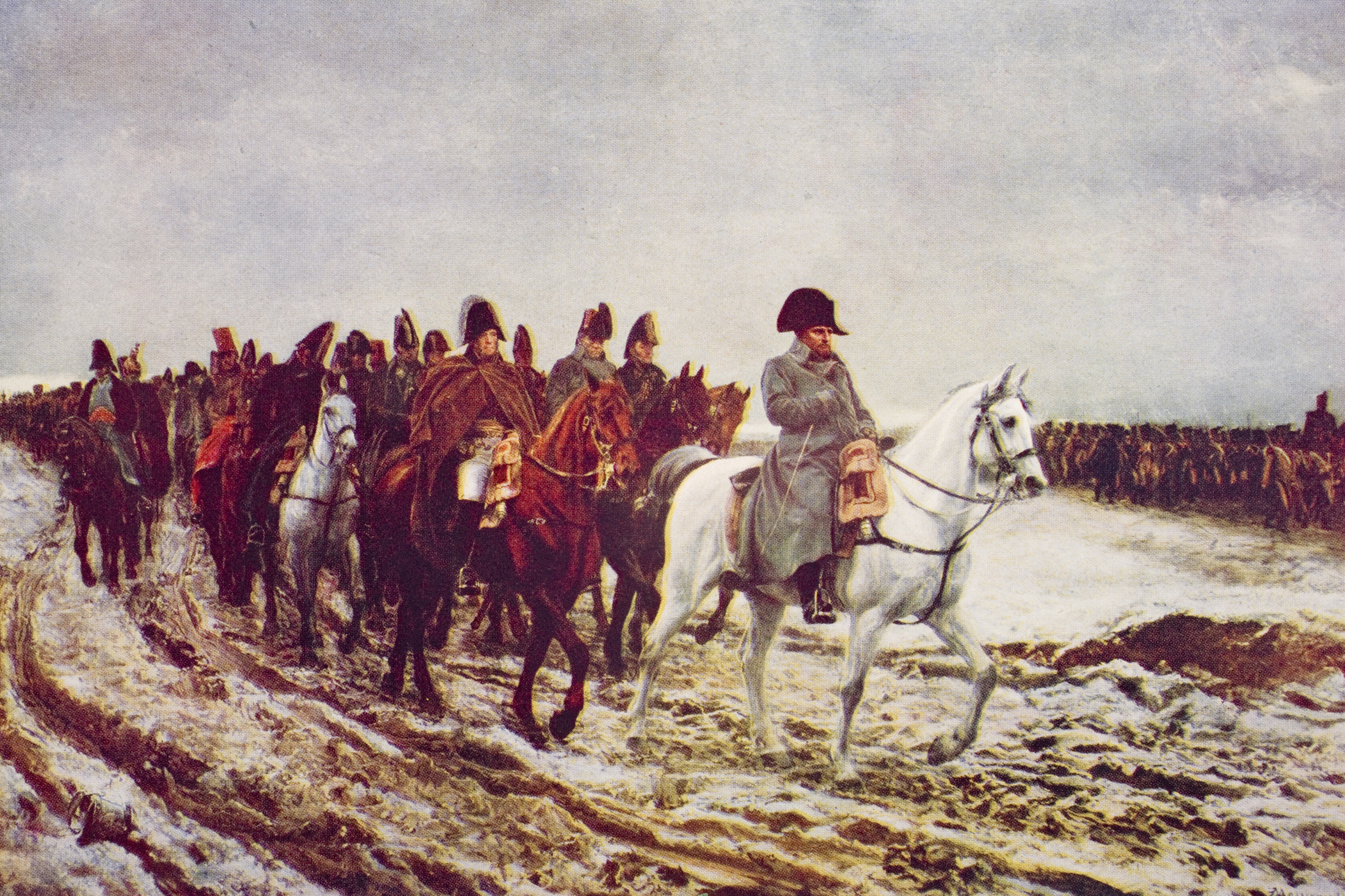 UNSPECIFIED - CIRCA 1800: Napoleon's retreat from Moscow, 1814. From the painting by Meissonier from the book The Outline of History by H.G.Wells Volume 2, published 1920. (Photo by Universal History Archive/Getty Images)
